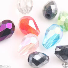 50Pcs Mixed Faceted Glass Crystal Findings Teardrop Spacer Loose Beads 8X6mm