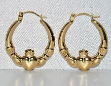 """STUNNING 9 CT YELLOW GOLD """"CLADDAGH"""" CREOLE EARRINGS """"Love Loyalty & Friendship"""""""