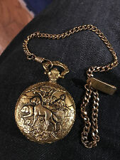 MILAN Golden Dogs Duck Hunting Pocket Watch Quartz Japan Movement w/Chain