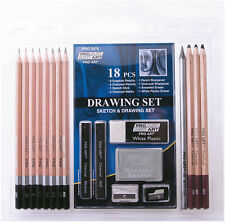 Pro Art 18 Piece Sketch & Drawing Set  Pencils Charcoal Sharpeners Erasers