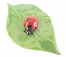 Miniature Porcelain Green Leaf with Lady Bird or Ladybug (2 pieces) Figurine