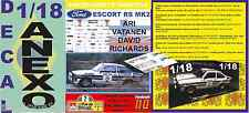 ANEXO DECAL 1/18 FORD ESCORT RS 1800 MK II ROTHMANS A.VATANEN R.BRASIL 1981 (01)