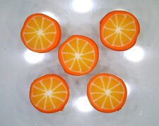 Handmade polymer clay flat circular beads – Orange Citrus slices