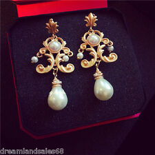 New Fashion Baroque Openwork Bridal Chandelier Gold White Pearl Drop Earrings