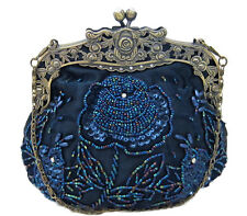 Vintage Style Navy Satin Floral Hand Beaded Evening Bag Handbag Purse