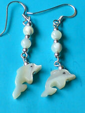 STERLING SILVER 40mm DROP EARRINGS WITH MOTHERof PEARL BEADS & DOLPHINS £7.50nwt