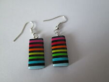 "Boucle d'oreille ""Rectangle Little Multicolore"",en fimo,NEUVE."