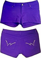 Sexy Hot Pants PURPLE Labijou RHINESTONE Mini STRETCH SHORTS jr XL wmn M L 32x2