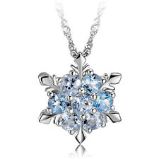 Frozen Snowflake Silver Necklace Flower Swarovski Crystal Pendant+Chain Gift New