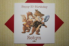 Handmade Personalised Retro Chip 'N Dale Rescue Rangers Birthday Card 30 35 40