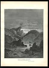 1884 Gustave Dore Paradise Lost sea serpent art vintage print