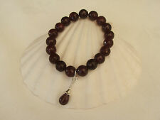 Deep Red faceted Agate stretch bracelet & Real Ruby Sterling Silver clipon charm