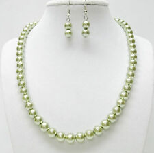 """8mm Dark Olive Glass Pearl Necklace and Earrings Set(19"""", Silver Plated)"""