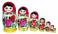 7 RUSSIAN STACKING TRADITIONAL MATRYOSHKA DOLLS/SEMENOVO/RED SHAWL/17 cm/ 6.75''