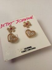 $35 Betsey Johnson CZ DUO FLOWER AND HEART EARRING STUD SET #405