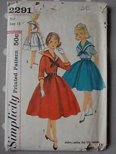 50s Vtg Child Dress Sailor Collar Simplicity 2291 Sewing Pattern B 30 Age 12
