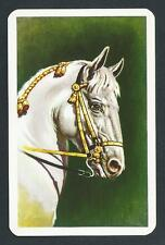 #930.245 vintage swap card -MINT- Bridled white Horse head
