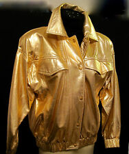 NIEMAN MARCUS WOMEN'S GOLD LEATHER BOMBER JACKET BY VAKKO  NEVER WORN  SEE MEAS.