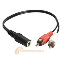 3.5mm Y Adapter Audio Cable Stereo Female Mini Jack To 2 RCA Male Adapter New