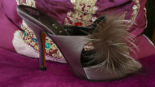 GINA Fifty Shades of Grey satin diamante fur high heel sandal shoes Size 3 / 36