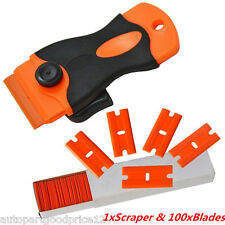 Auto Car Paint/Film/Glue/Adhesive Remove Handle Scraper &100 Double Edged Blades