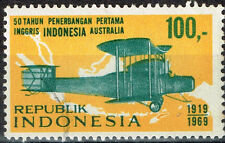 Indonesia Aviation Aicrafts History Map stamp 1969