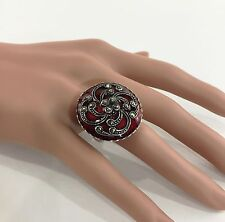 Sterling Silver Marcasite Dark Red Enamel Swirl Filigree Ring Size 7 .925