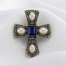 Celtic Cross Brooch / Scottish Kilt Pin - Vintage Style Crucifix Blue Jewellery