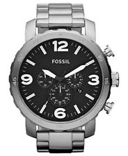 Fossil  Men's Chronograph Nate Stainless Steel Bracelet Watch 50mm JR1353