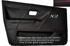 RED STITCH 2X FRONT DOOR CARD SKIN COVERS FITS VW GOLF MK2 II JETTA 83-92 5DR