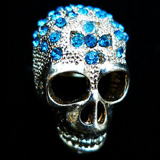 Fashion RING skull face crystal rhinestone finger glaze gold punk gothic NEW