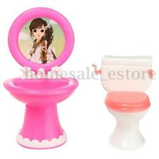 Bathroom Toilet & Wash Basin Set for Barbie Doll House Miniature Furniture Toy