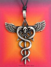 Pagan Caduceus Pentagram Pendant Necklace Skull Snakes Wings Pentacle protection