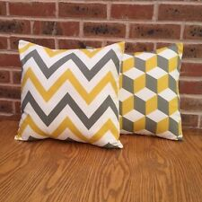 Cushion Cover Sofa Pack of 2 x Yellow and Grey Geometric 16""
