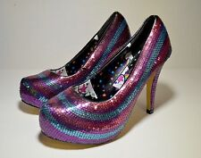 IRON FIST TWINKLE TOES Pink Blue Sequined Retro Pin Up Platform Pumps Women's 9