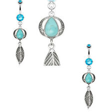 1 Pc 14g Natural Turquoise Precious Stone Headress & Leaf dangle Navel Ring
