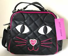 NEW BETSEY JOHNSON KITSCH KITTY CAT FURRY FACE INSULATED LUNCH BAG BOX TOTE $68