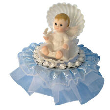 angel in a shell baby boy christening baptism cake top poly resin