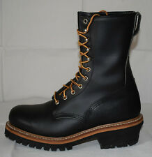 "Red Wing 2218 9"" Linesman Black Leather Steel Toe Logger Boots UK7.5 Work Biker"