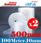 Pickup Only : 2 x 500mm x 100M Bubble Wrap Roll Bubblewrap Polycell P10 Clear
