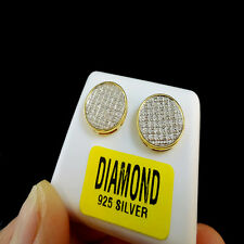 REAL DIAMOND MENS LADIES CIRCLE DESIGNER 14K YELLOW GOLD FINISH STUD EARRINGS