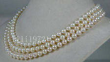 """Genuine AAA 6-6.5mm round white akoya sea pearl necklace 54"""" 14k gold clasp"""