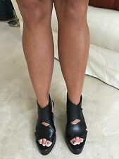 ANNE DEMEULEMEESTER BLACK XCROSS WEDGE SANDALS SHOES SZ 37.5