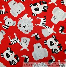 BonEful Fabric FQ Cotton Quilt Red Black Gray B&W Panda Bear Koala Lion Baby Boy