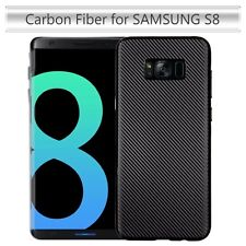 Samsung Galaxy S8 TPU Slim Fit Case Carbon Fiber Phone Cover Lightweight BLACK