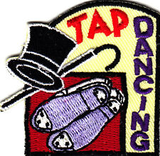 """""""TAP DANCING"""" w/Hat, Cane & Shoes - Iron On Embroidered Patch/Dance"""