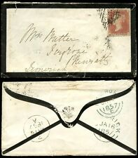 IRELAND PENNY RED LCp14 IG on 1857 MOURNING ENVELOPE NEWROSS to LIMERICK