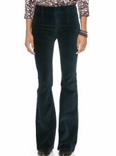 NWT FREE PEOPLE Sz27 OXANNA CLEAN VELVET FLARE STRETCH PANT JEWEL GREEN $128.