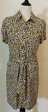DVF Diane Von Furstenberg Silk Dress Size 12 Button Down Belt Yellow Black