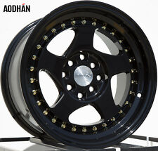 AODHAN AH01 15x8 4x100 / 4x114.3 +20 Full Black (Gold Rivet) (PAIR) wheels